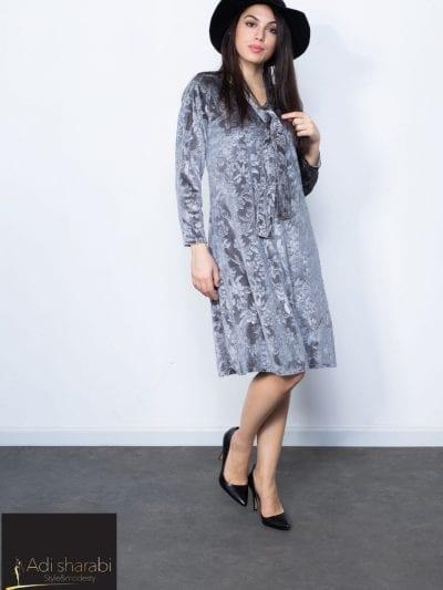 שמלת אמילי קטיפה צבע אפור