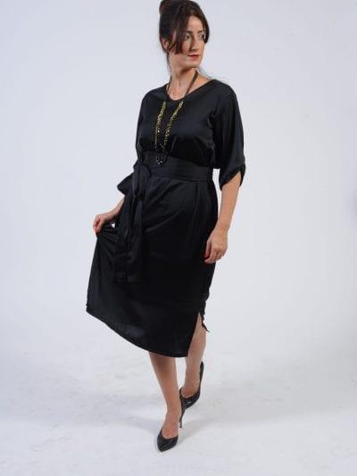 שמלת מידי סאטן שחור