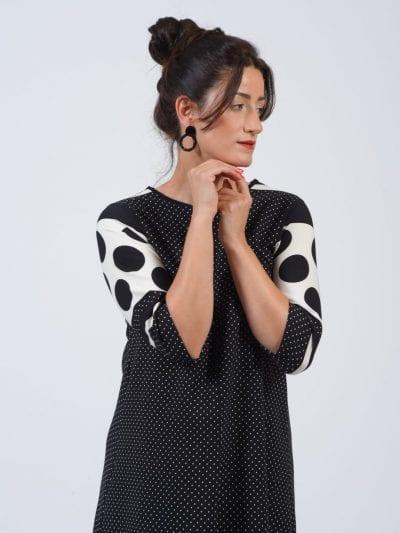 שמלת כפתור נקודות שחור לבן