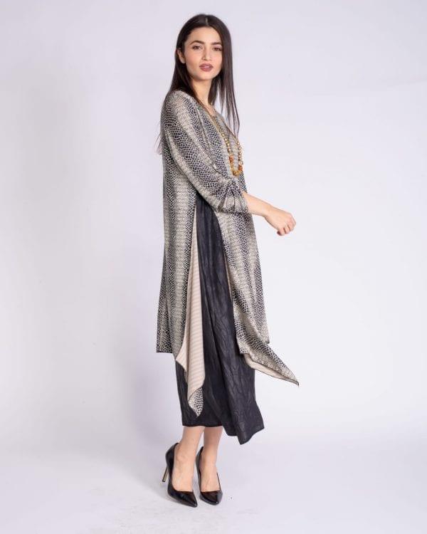 שמלה אלגנטית 2 חלקים שחור-שמנת