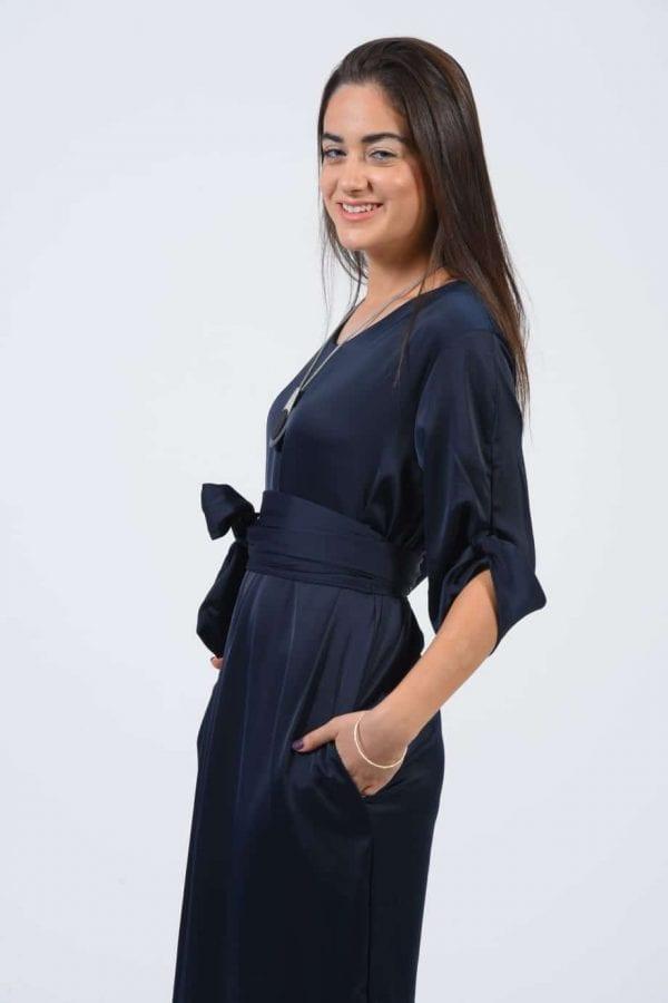 שמלת מידי סאטן כחול נייבי