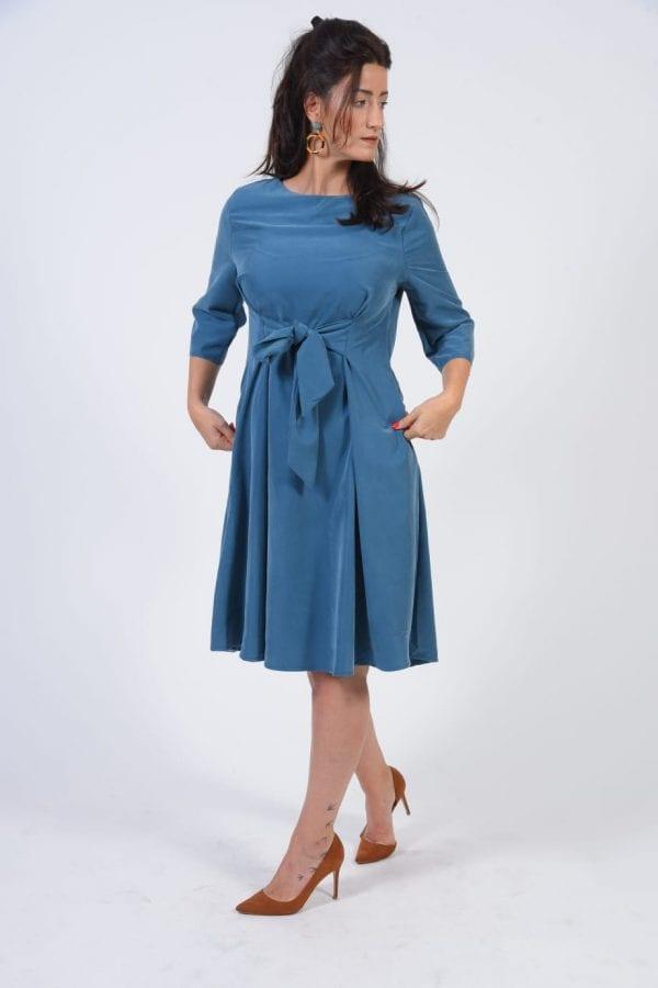 שמלת קשירה צבע טורקיז