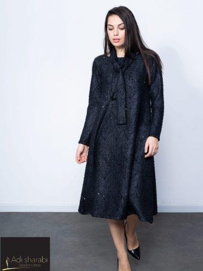 שמלת סריג אלגנטית אפור וכסף