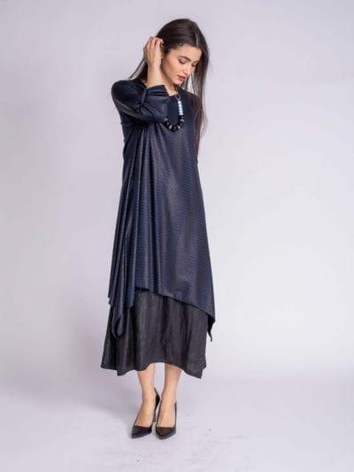 שמלה אלגנטית 2 חלקים כחול-שחור