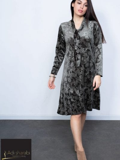 שמלת אמילי קטיפה צבע זית
