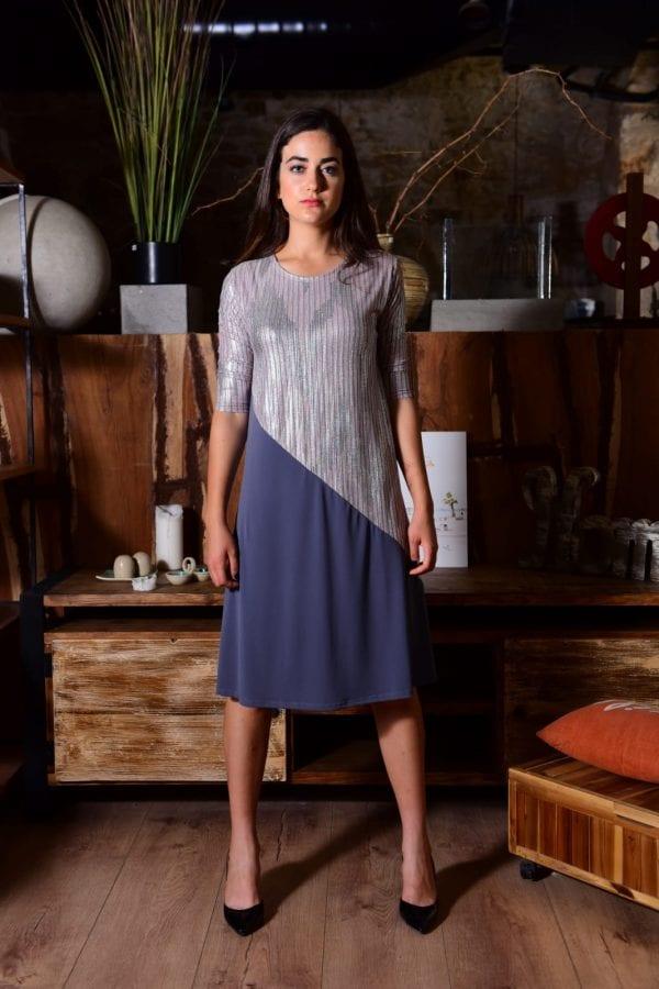 שמלת מיטל ורוד כסף אפור.
