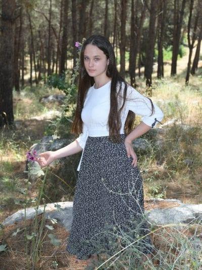שחור לבן פרחים שמלת ורד נערות לבן שיפון