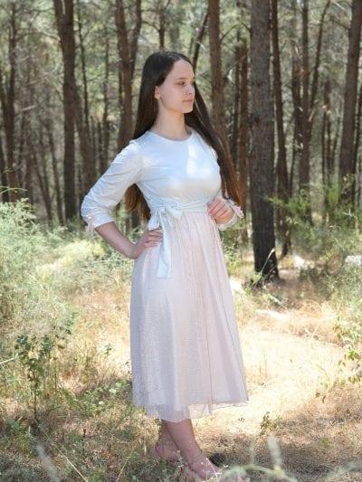 שמלת ורד נערות שמנת בשילוב טול רשת ורדרד