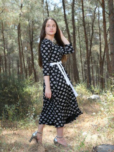 שמלת לילך שחור לבן